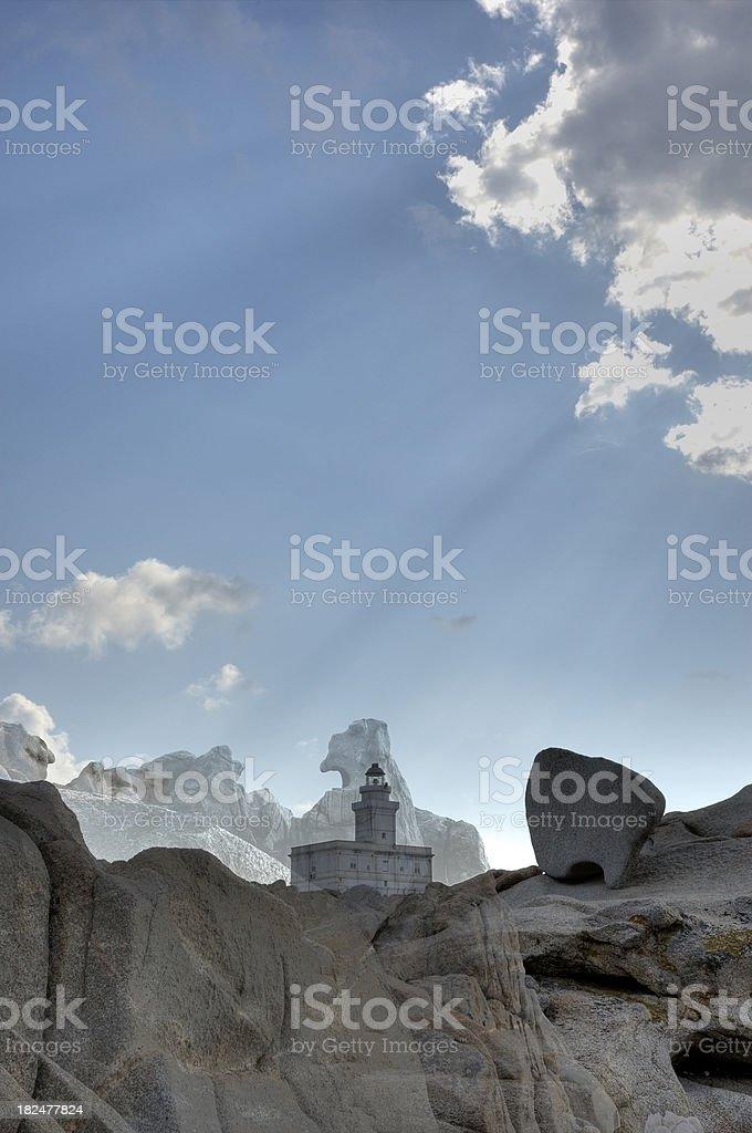 Faro di Capo Testa Sardinia sunbeams stock photo