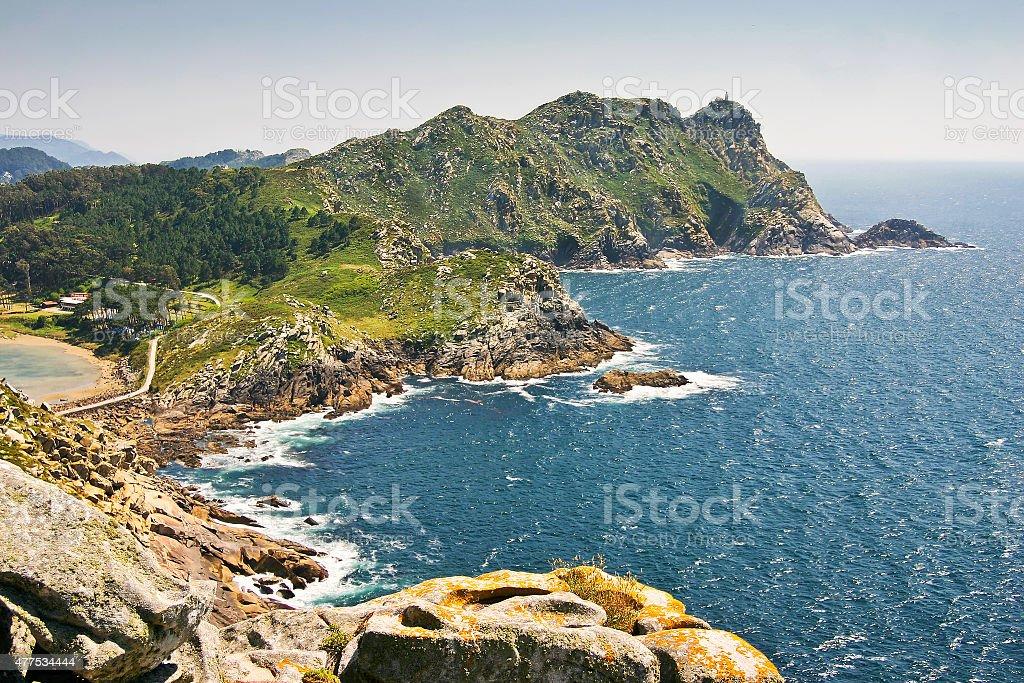 Faro island at Vigo estuary royalty-free stock photo