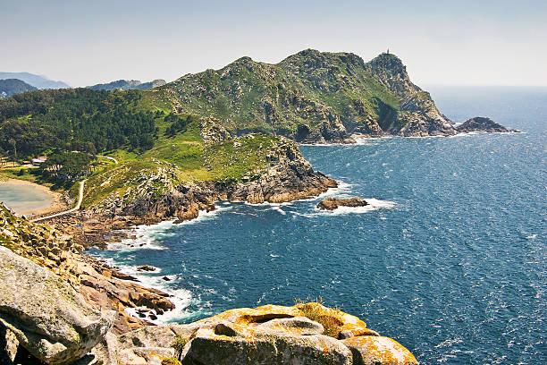 Faro island at Vigo estuary stock photo