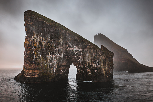 Faroe Islands Drangarnir Rocks Vagar Island Stock Photo - Download Image Now