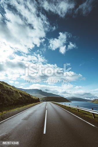 Faroe islands roads landscape