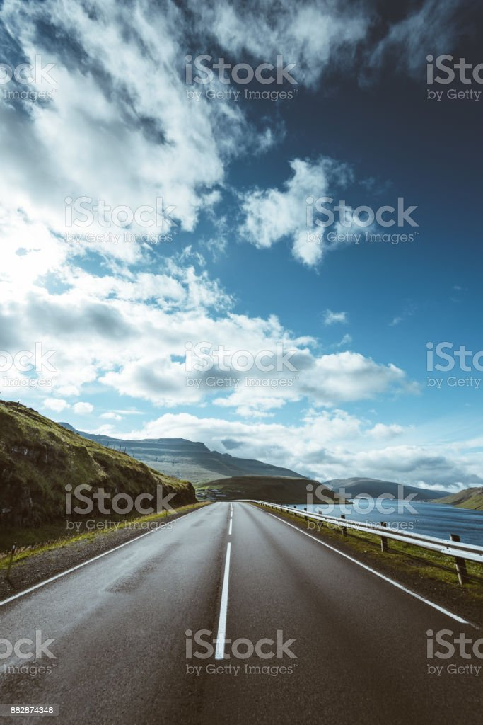 Faroe islands roads landscape stock photo