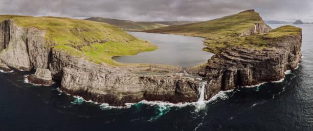 Faroe Islands Sorvagsvatn Lake Aerial Panorama Vagar Island stock photo