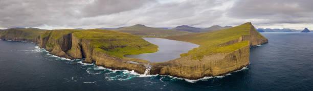 Faroe Islands Sorvagsvatn Lake Aerial Panorama Vagar Island