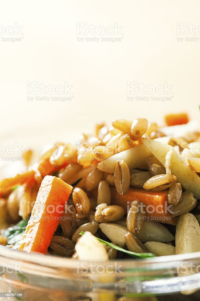 Farro Whole Grain Salad with Vegetables stock photo
