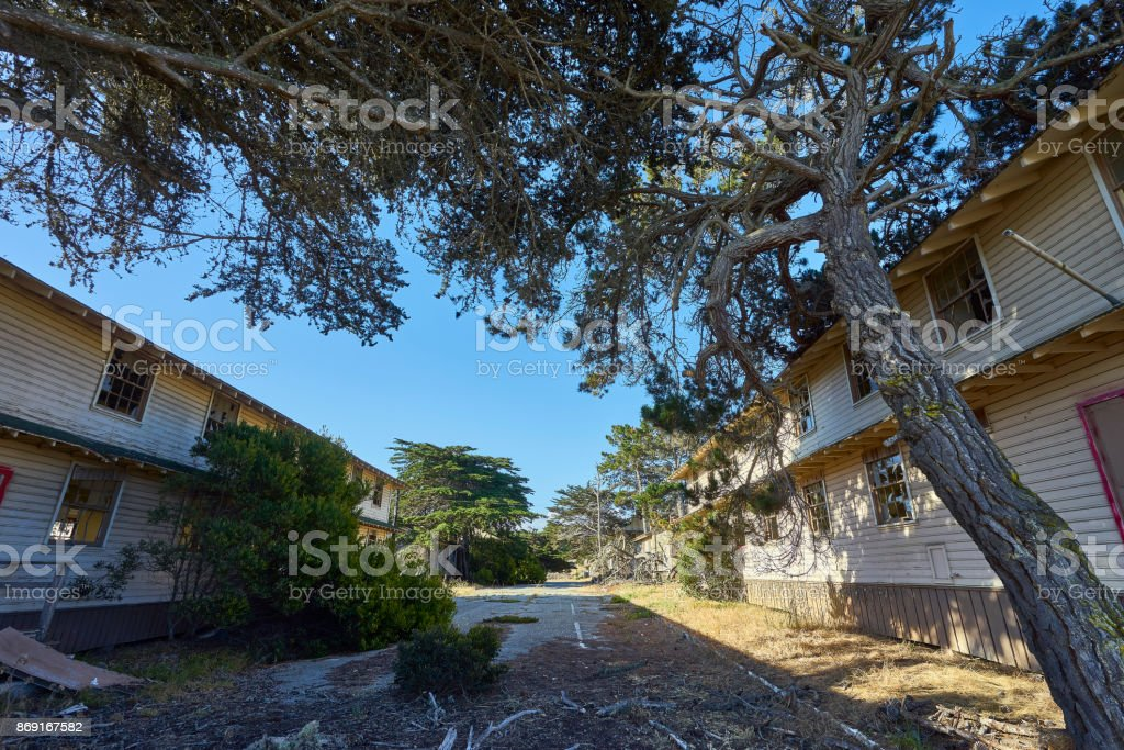fascinating defunct and decaying houses in an abandoned area near Monterey, California stock photo