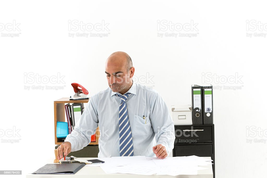 Fascinating employee in office sitting at desk – Foto