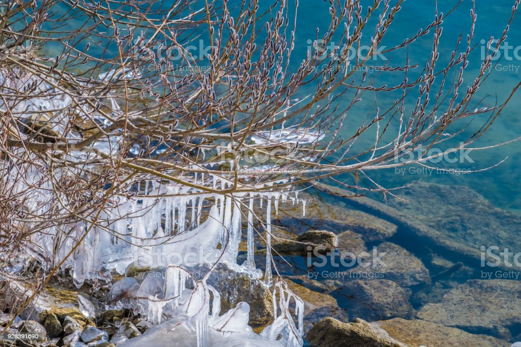 Fascinating ice formations, view from the Holzsteg, a wooden footbridge crossing the Upper Zurich Lake between Rapperswil and Hurden, Sankt Gallen, Schwyz, Switzerland stock photo