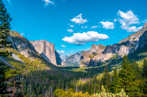 Fascinating views of Yosemite from the Tunnel View Viewpoint, Yosemite National Park. United States