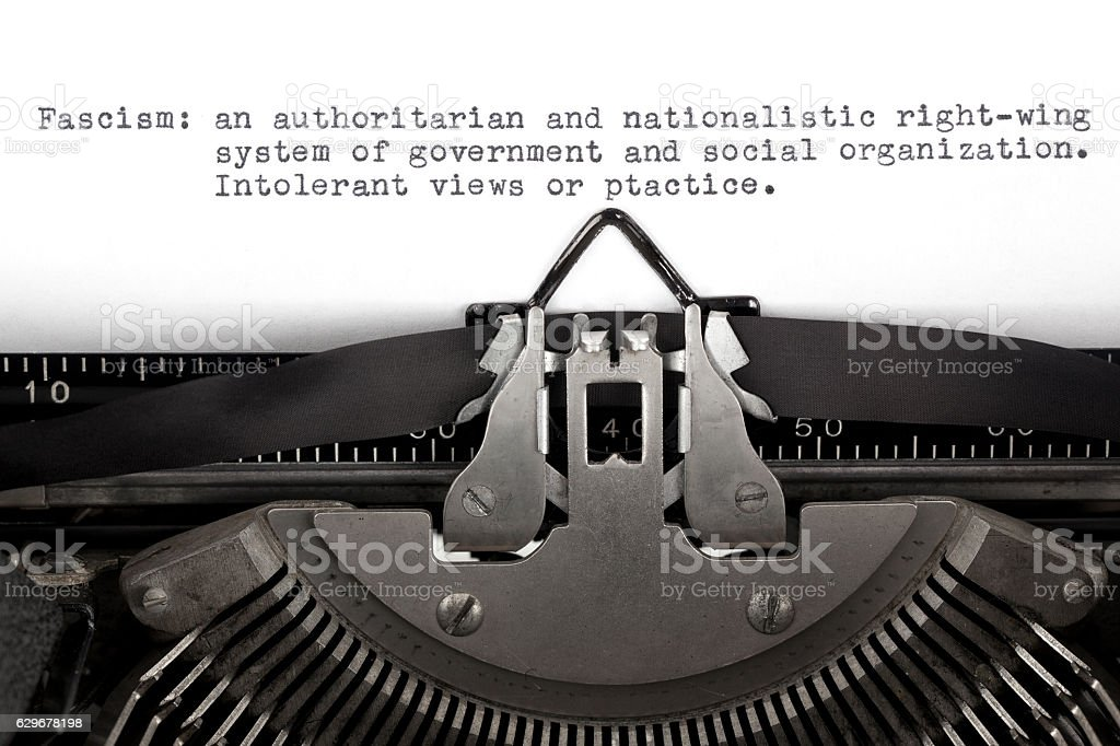 Fascism Definition Typed on a Typewriter stock photo