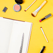 istock Fashion and beauty blogger accessories flat lay on a bright yellow background 866530114