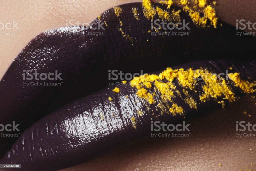 Fashion And Beauty Creative Lip Makeup Artistic Makeup Beautiful Macro Shot Of Female Plump Lips Closeup Shiny Glossy Lips With A Different Texture And Colors Liquid And Glitter Stock Photo Download