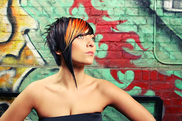 Fashion and Hair Model on colorful background stock photo