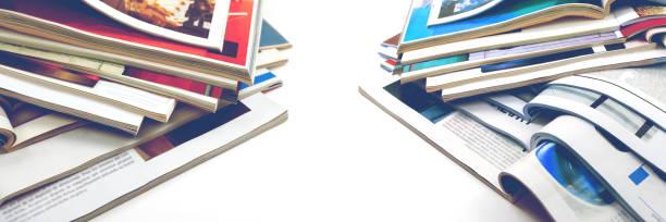modeartikel und katalog-design auf weißem hintergrund - publikation stock-fotos und bilder