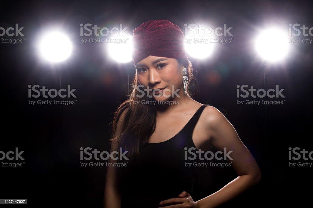 Fashion Young thin Asian Woman Tan skin eyes beautiful make up...
