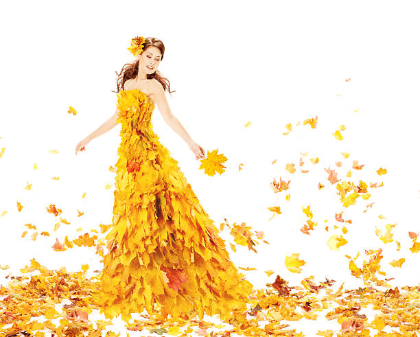 Fashion Autumn Woman, Fall Leaves Dress, Beauty Girl Model Gown stock photo