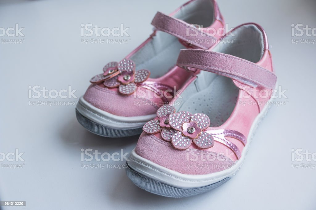 White Baby Sandals with Pink Flower