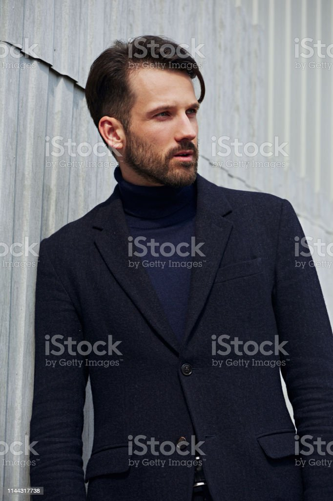 Fashion beard style business handsome male model posing in style...