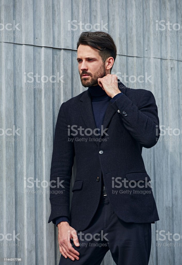 Fashion beard style business handsome male model with serious...