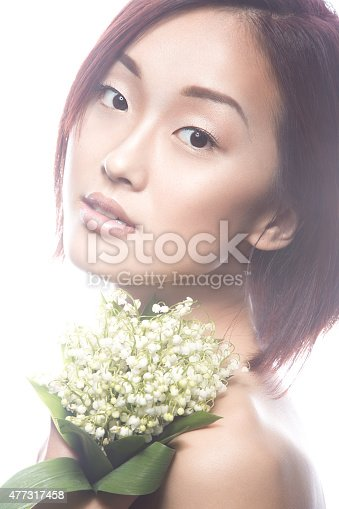 istock Fashion beautiful girl oriental type with delicate natural make-up 477317458