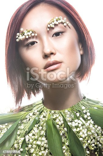 istock Fashion beautiful girl oriental type with delicate natural make-up 478851684