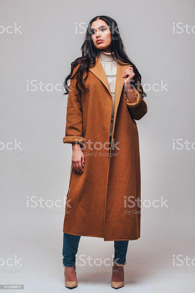 Fashion beautiful happy cute smiling brunette woman girl stock photo