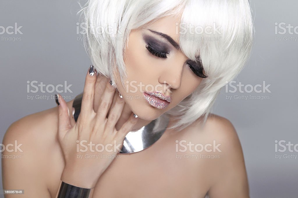 Fashion Beauty Blond Girl. Woman Portrait with White Short Hair. royalty-free stock photo