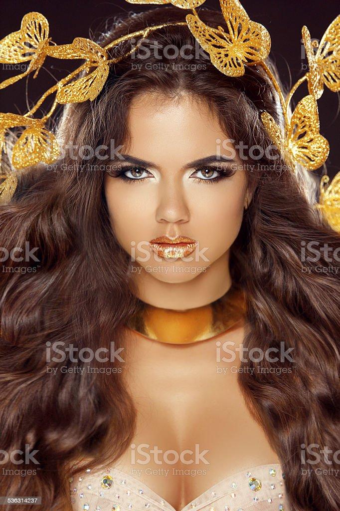 Fashion Beauty Brunette Girl Portrait with makeup and long hair stock photo