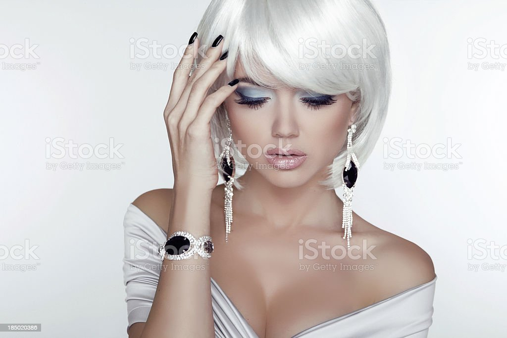 Fashion Beauty Girl. Woman Portrait with White Short Hair. royalty-free stock photo