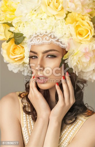1169941952istockphoto Fashion beauty model with flowers hair. Perfect creative make up 512836277