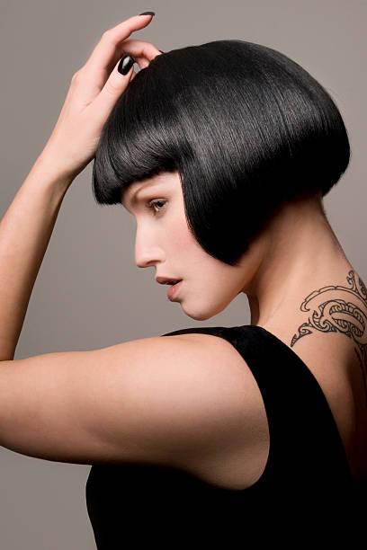 mode und schönheit - kurze schwarze haare stock-fotos und bilder