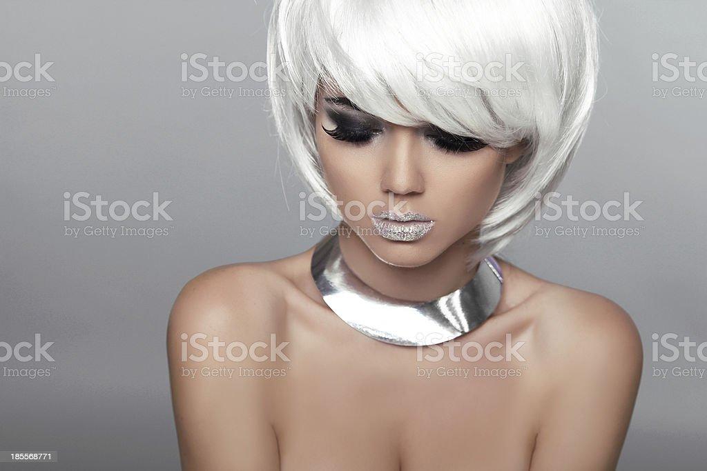 Fashion Beauty Portrait Woman. White Short Hair. Beautiful Girl royalty-free stock photo