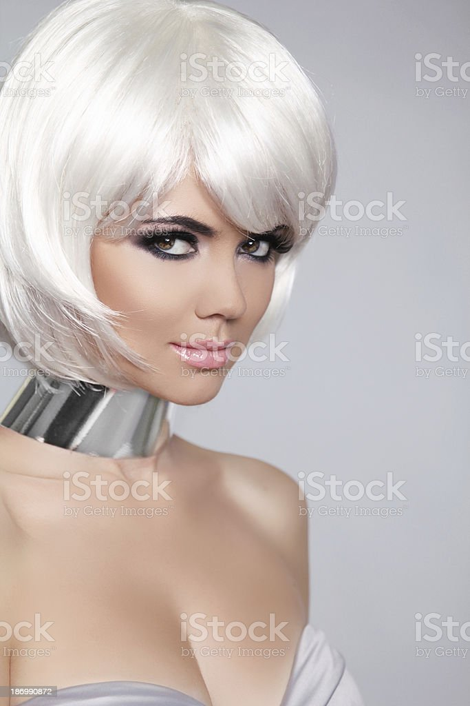 Fashion Beauty Portrait Woman. White Short Hair. Beautiful Girl royalty-free stock photo