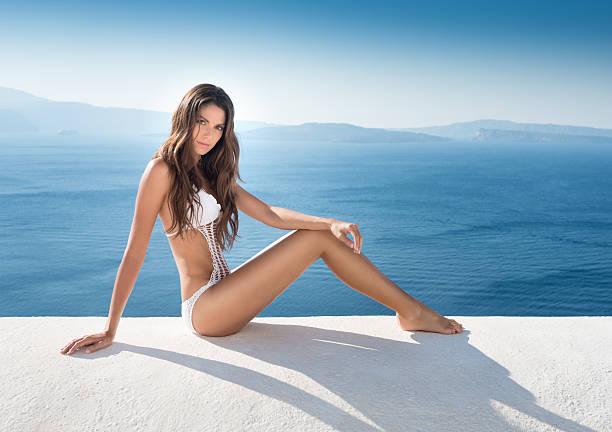 Mode Schönheit des, Santorin, Griechenland – Foto