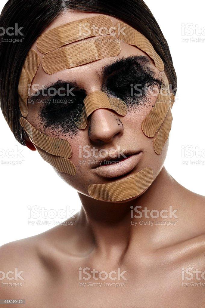 Fashion beauty Woman with black Powder on Eyes stock photo