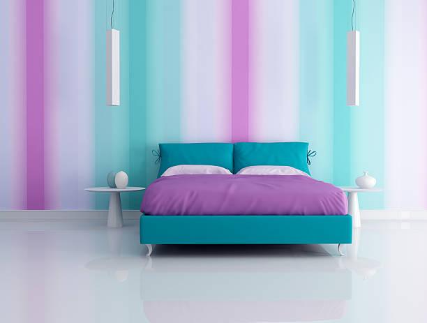 mode-schlafzimmer - lila, grün, schlafzimmer stock-fotos und bilder