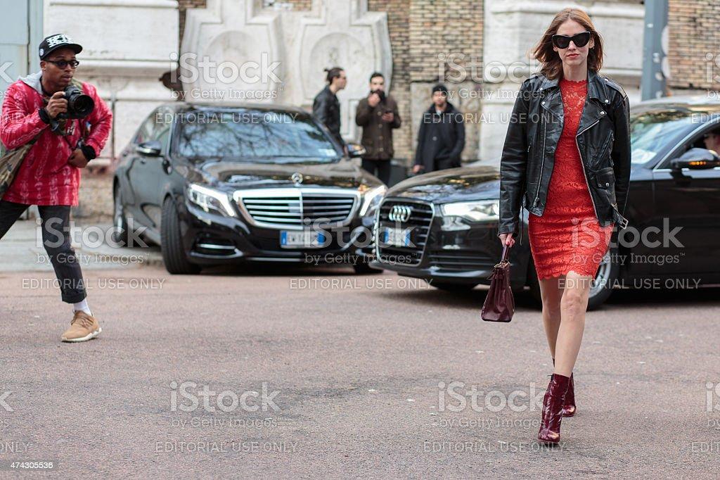 Fashion blogger Chiara Ferragni stock photo