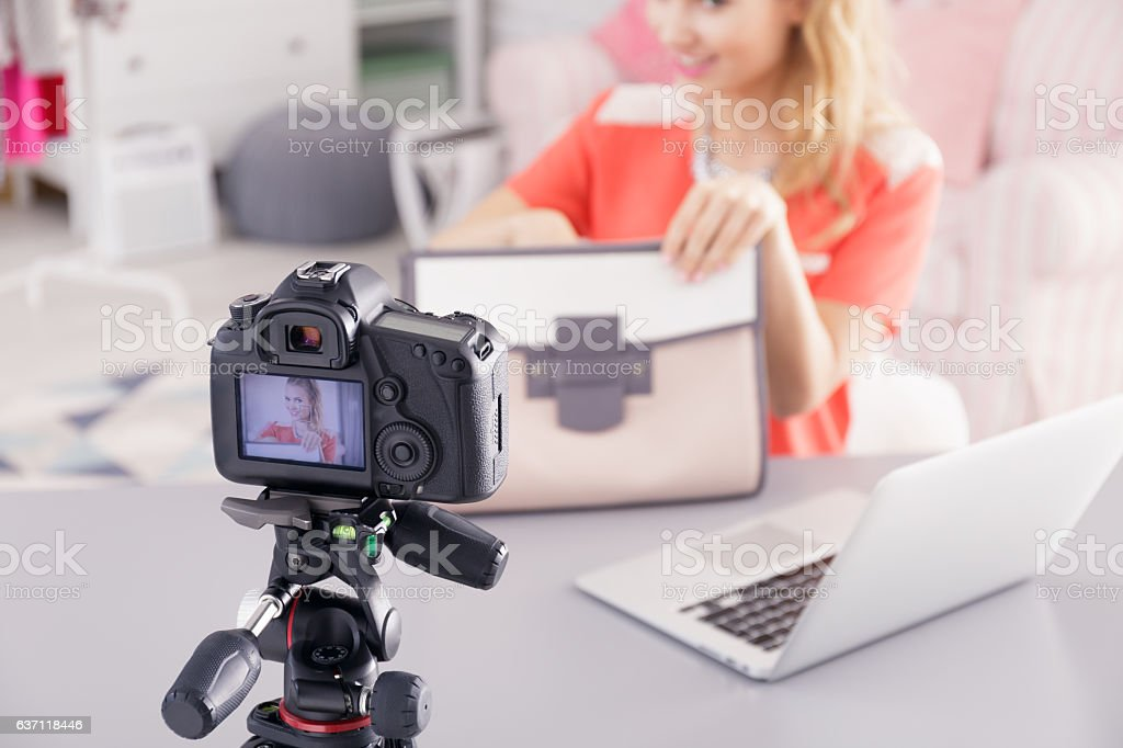 Fashion blogger filming video stock photo