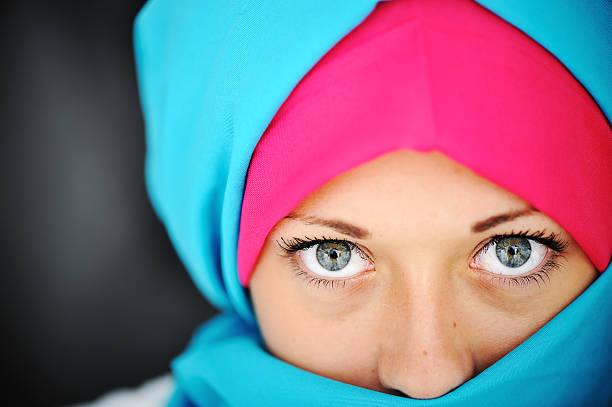 Fashion blue and pink hijab stock photo