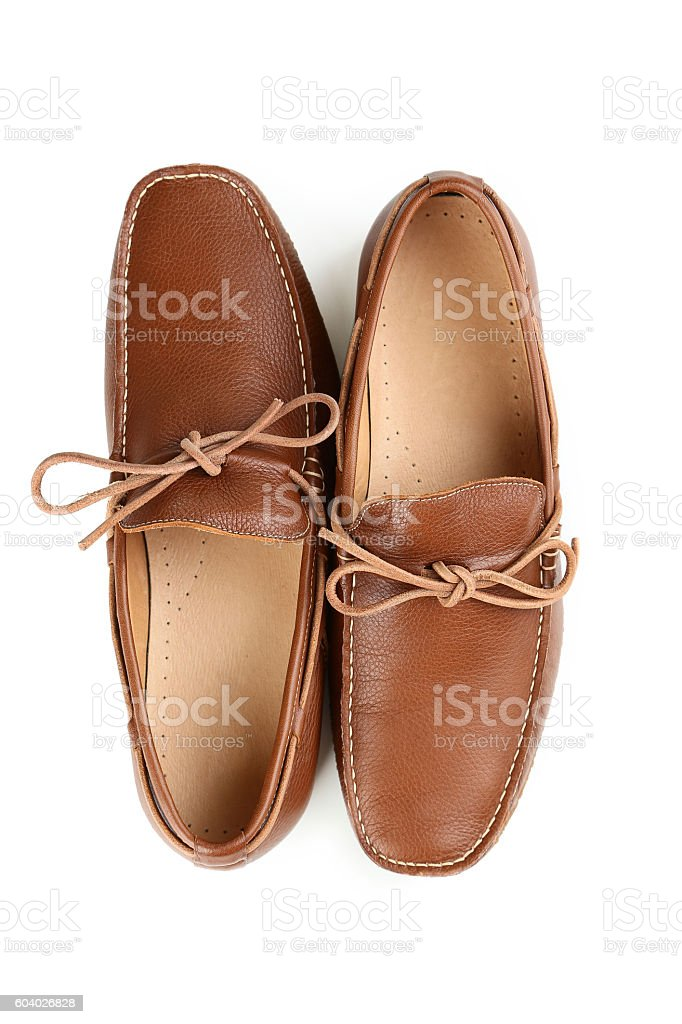 Fashion brown shoes isolated on a white stock photo