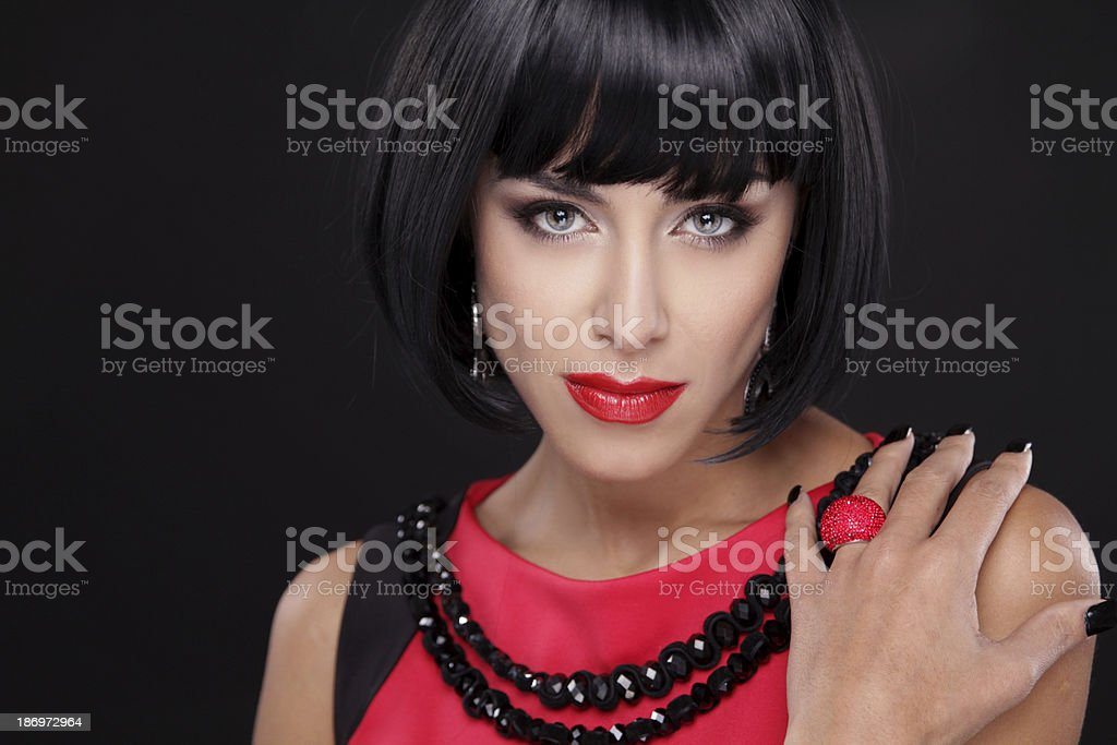 Fashion Brunette Woman Portrait with Red Lips isolated royalty-free stock photo