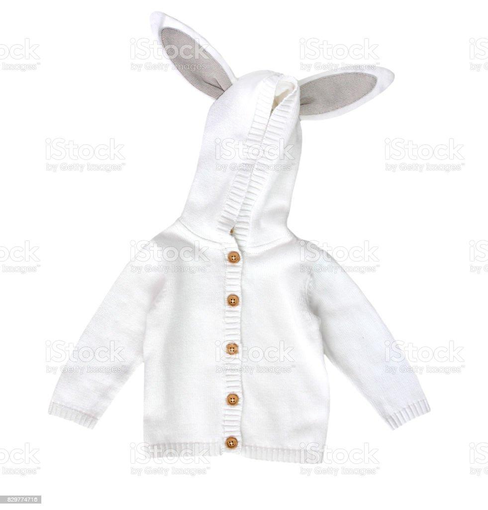 Fashion child's sweater.Kid's knitted white jacket. stock photo