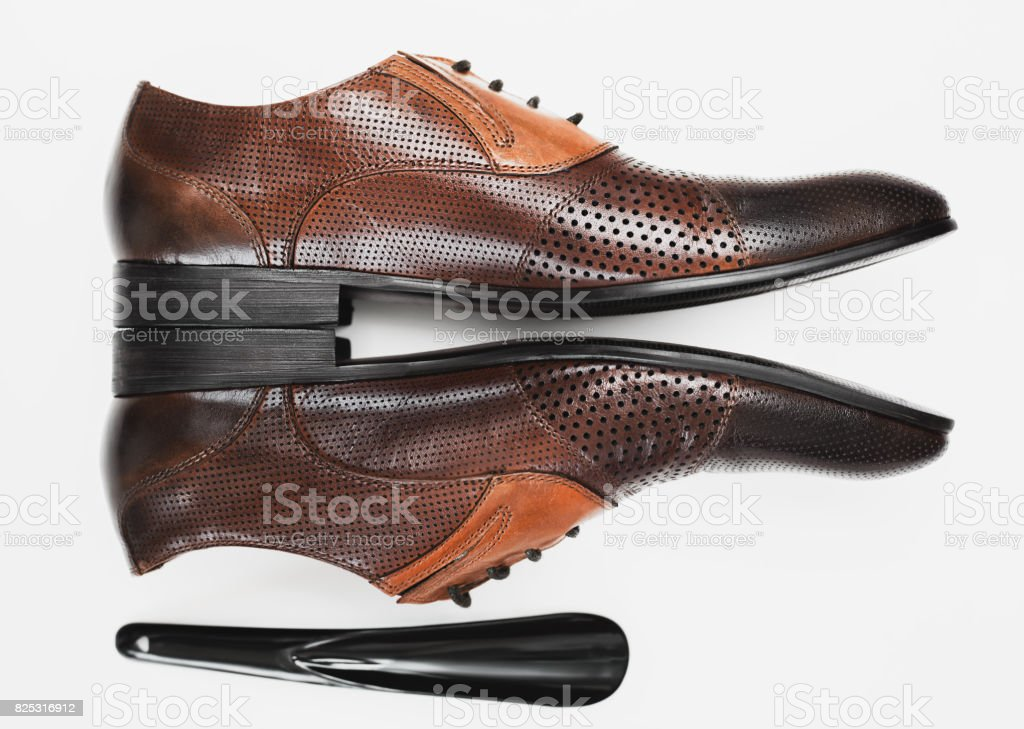 Fashion classical polished men's shoes stock photo