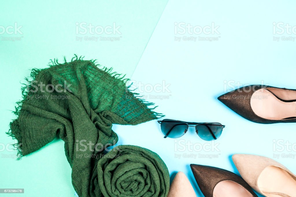 Fashion. Clothes Accessories fashion Set. Female Stylish gumshoes royalty-free stock photo
