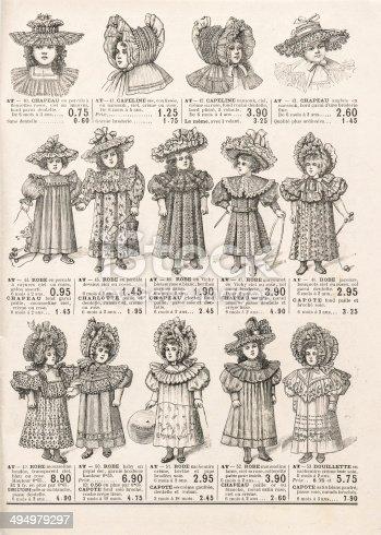 istock fashion clothing for girls. antique shop advertising Paris circa 1898 494979297