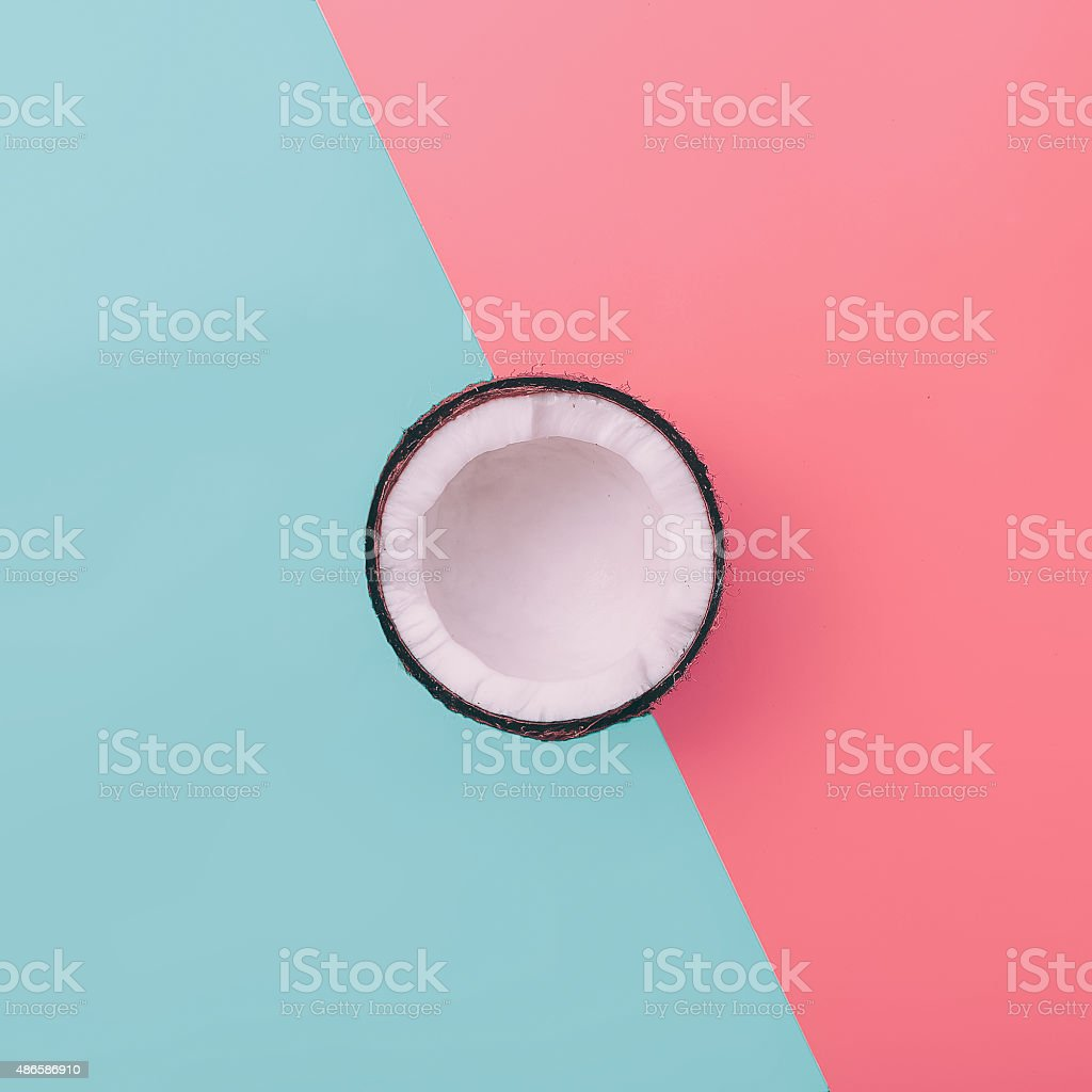 Fashion Coconut on exclusive background. Minimal style stock photo