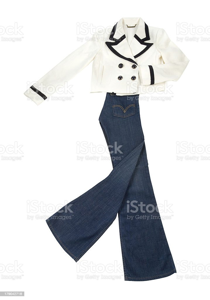 Fashion composition with white black bolero jacket and jeans stock photo