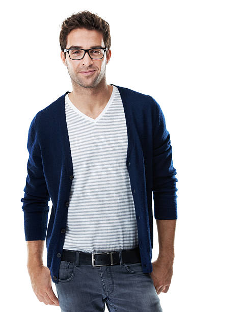Fashion conscious and on the cusp of trends Portrait of a trendy hipster wearing black-rimmed glasses isolated on white background - Copyspace cusp stock pictures, royalty-free photos & images