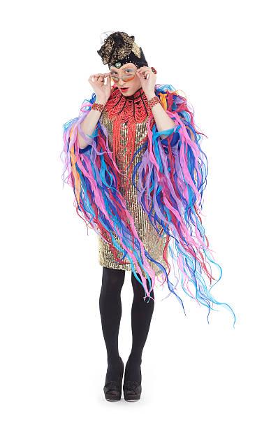 fashion conscious drag queen - drag queen stockfoto's en -beelden