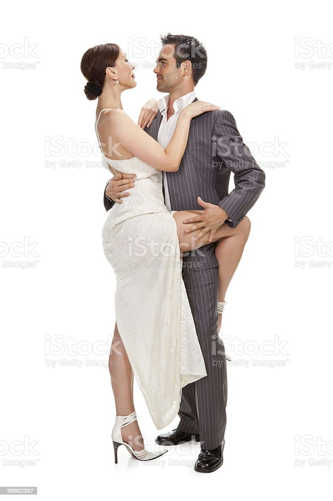 fashion couple dancing , studio shot royalty-free stock photo